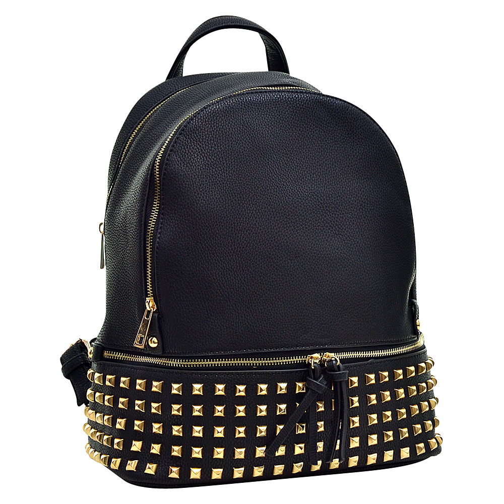 Dasein Buffalo Faux Leather Studded Backpack Black - Dasein Leather Handbags - Handbags, Leather Handbags