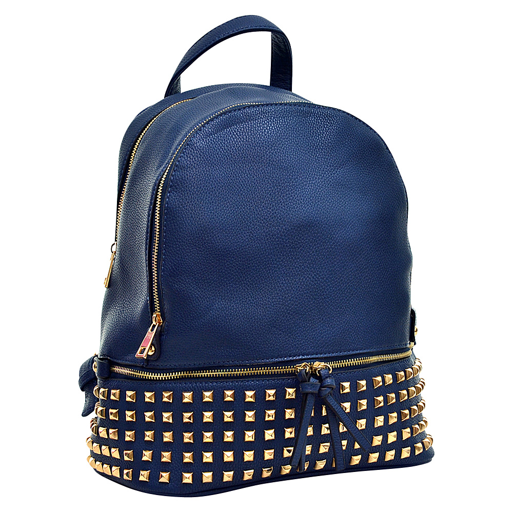 Dasein Buffalo Faux Leather Studded Backpack Blue - Dasein Leather Handbags - Handbags, Leather Handbags