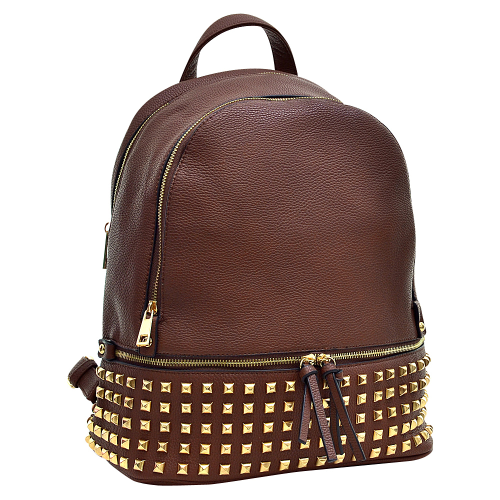 Dasein Buffalo Faux Leather Studded Backpack Coffee - Dasein Leather Handbags - Handbags, Leather Handbags