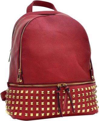 Dasein Buffalo Faux Leather Studded Backpack Red - Dasein Leather Handbags