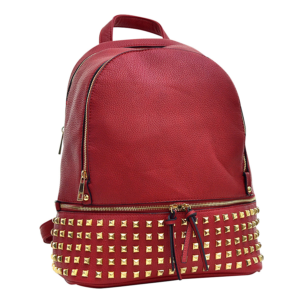 Dasein Buffalo Faux Leather Studded Backpack Red - Dasein Leather Handbags - Handbags, Leather Handbags