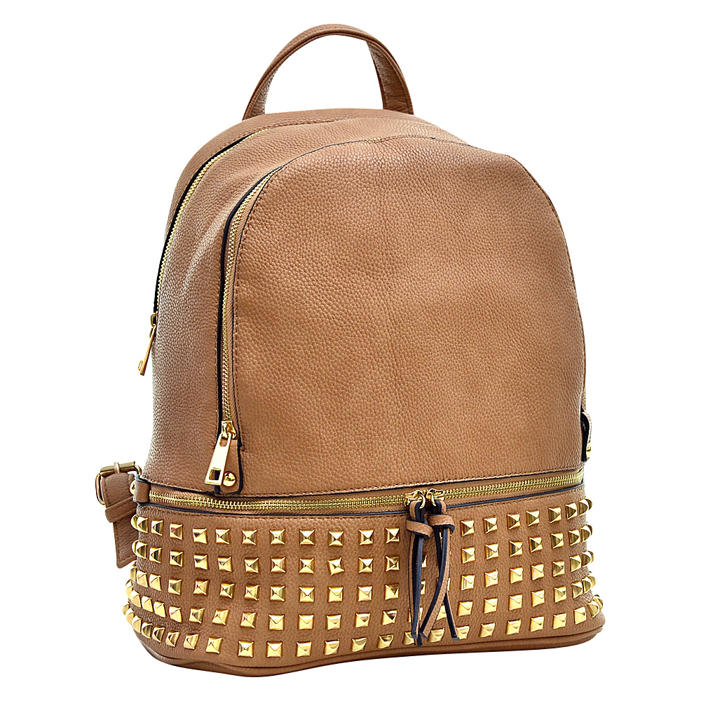 Dasein Buffalo Faux Leather Studded Backpack Beige - Dasein Leather Handbags - Handbags, Leather Handbags