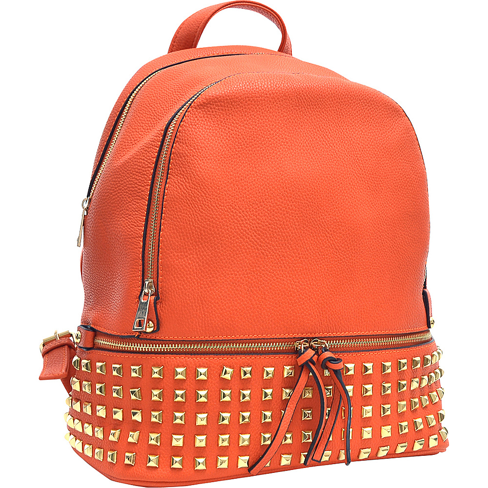 Dasein Buffalo Faux Leather Studded Backpack Orange - Dasein Leather Handbags - Handbags, Leather Handbags