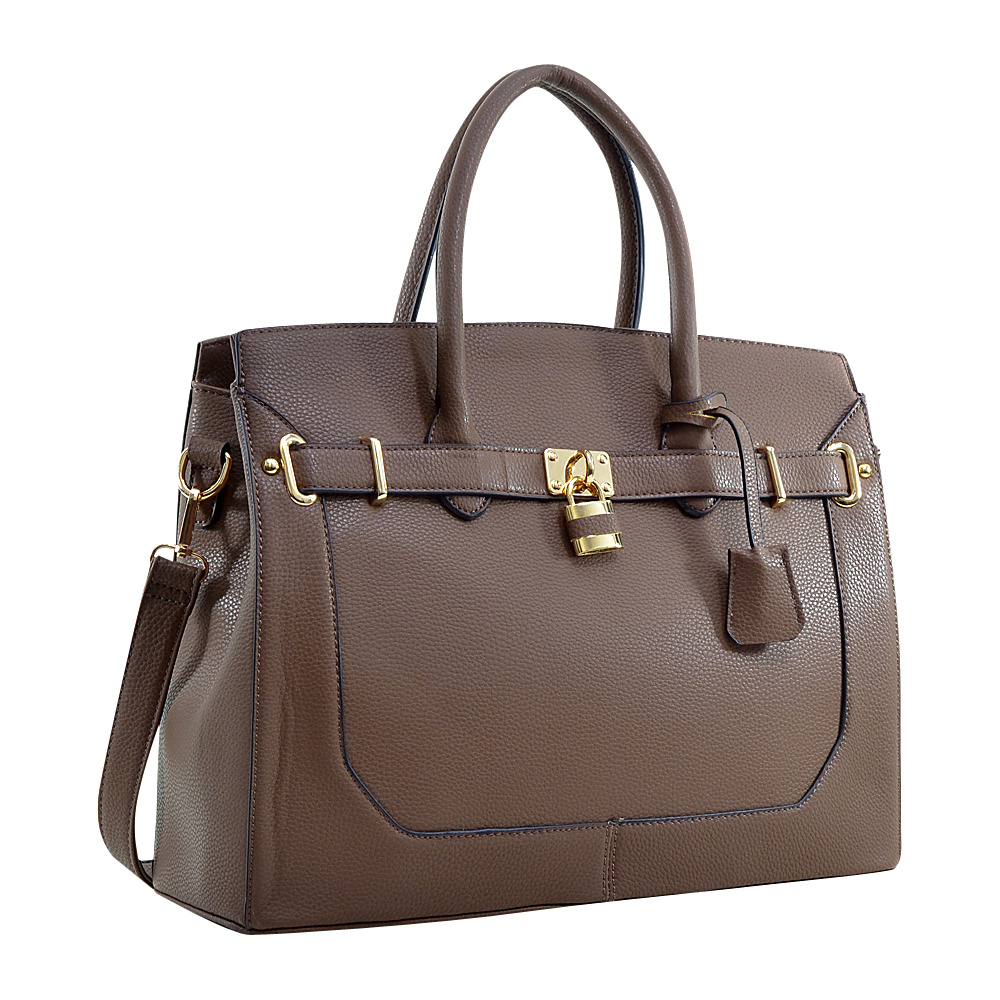 Dasein Faux Leather Padlock and Key Satchel Brown - Dasein Gym Bags - Sports, Gym Bags