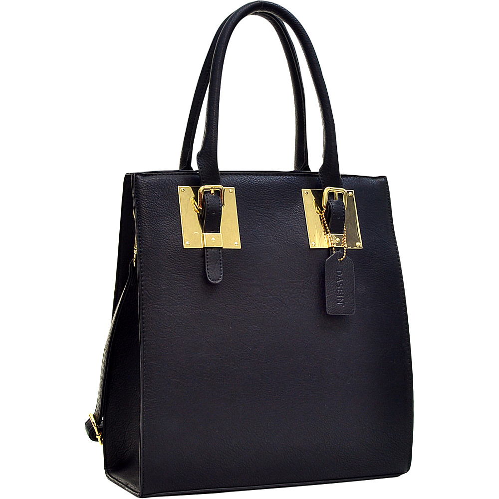 Dasein Structured Faux Leather Tote Black - Dasein Manmade Handbags - Handbags, Manmade Handbags