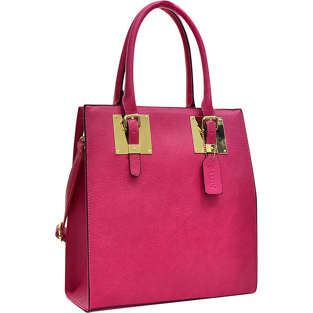 Dasein Structured Faux Leather Tote Fuchsia - Dasein Manmade Handbags - Handbags, Manmade Handbags