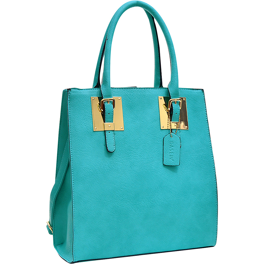 Dasein Structured Faux Leather Tote Turquoise - Dasein Manmade Handbags - Handbags, Manmade Handbags