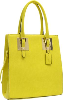 Dasein Structured Faux Leather Tote Yellow - Dasein Manmade Handbags
