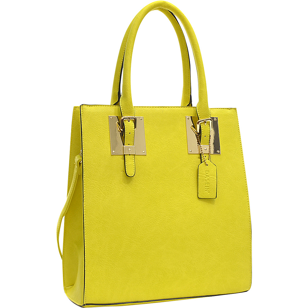 Dasein Structured Faux Leather Tote Yellow - Dasein Manmade Handbags - Handbags, Manmade Handbags