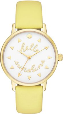 kate spade watches Leather Metro Watch Yellow - kate spade watches Watches