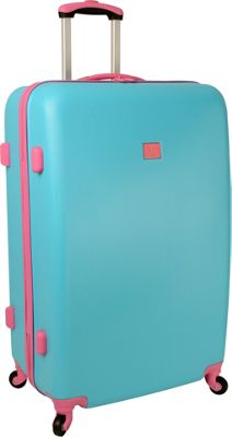 Anne Klein Luggage Palm Springs 28 inch Hardside Spinner Turquoise/Pink - Anne Klein Luggage Hardside Checked