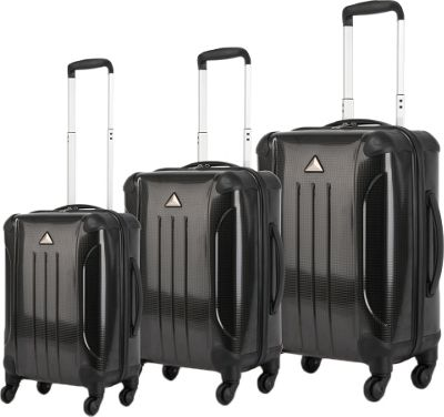 Triforce Apex 101 Collection Hardside 3-piece Spinner Luggage Set Black - Triforce Luggage Sets
