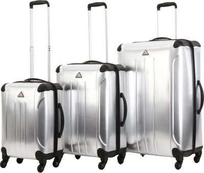 Triforce Apex 101 Collection Hardside 3-piece Spinner Luggage Set Silver - Triforce Luggage Sets