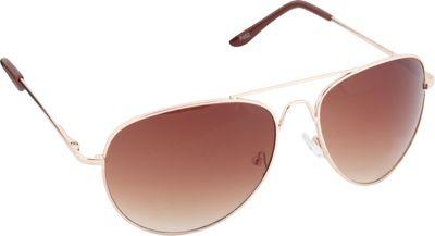 POP Fashionwear Classic Metal Large Aviator Sunglasses Gold/Brown Lens - POP Fashionwear Sunglasses
