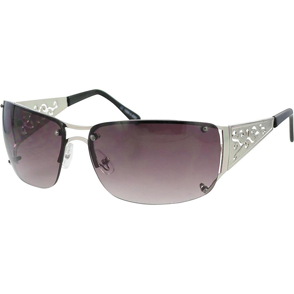 Bob Mackie Sunglasses Wrap Sunglasses with Metal Detail Silver - Bob Mackie Sunglasses Sunglasses