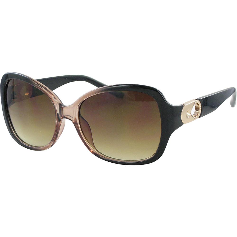 Bob Mackie Sunglasses Sunglasses with Metal Keyhole Gradient Crystal Brown and Gold - Bob Mackie Sunglasses Sunglasses