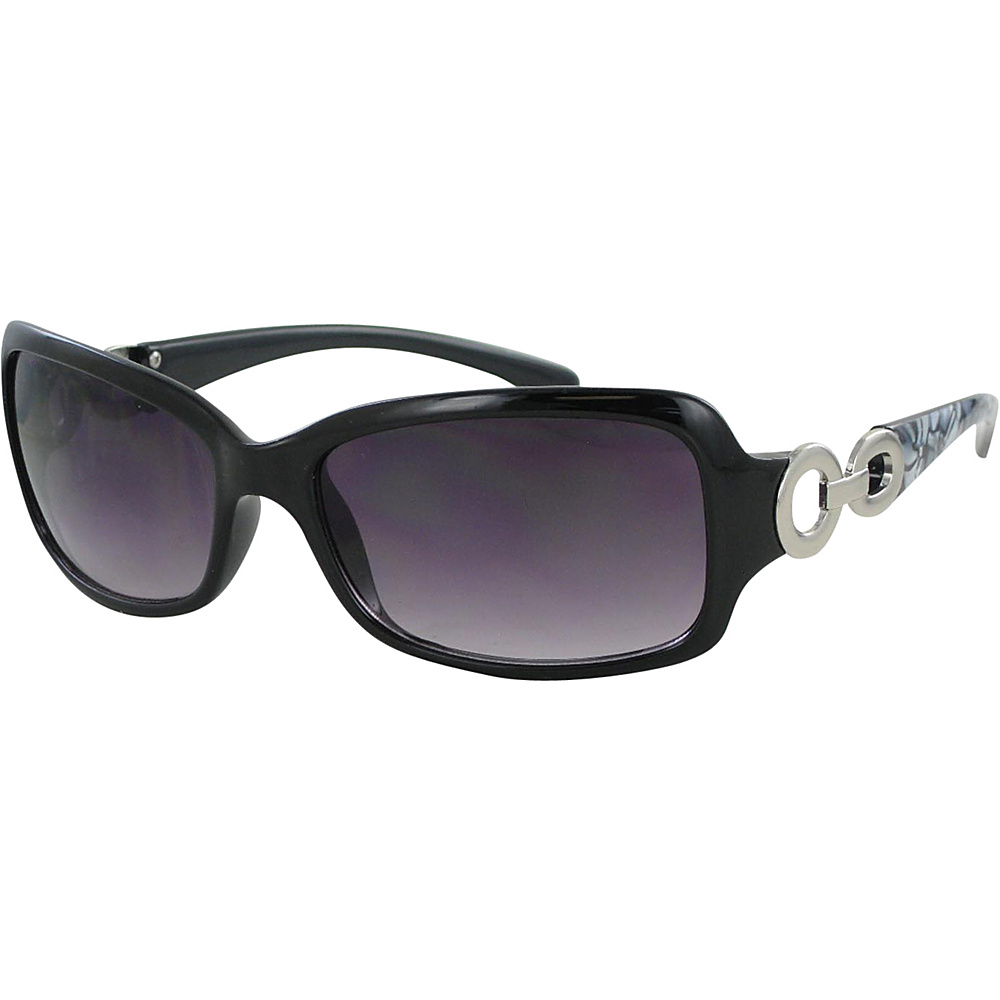 Bob Mackie Sunglasses Rectangular Frames with Loop Metal Detail Black and Smoke with Silver - Bob Mackie Sunglasses Sunglasses
