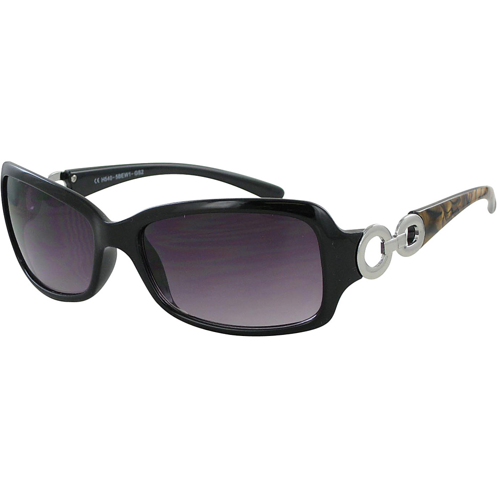 Bob Mackie Sunglasses Rectangular Frames with Loop Metal Detail Black and Brown with Silver - Bob Mackie Sunglasses Sunglasses