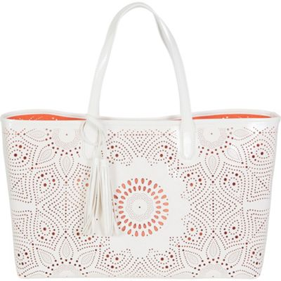BUCO Sunflower Beach Tote White/Orange - BUCO Manmade Handbags