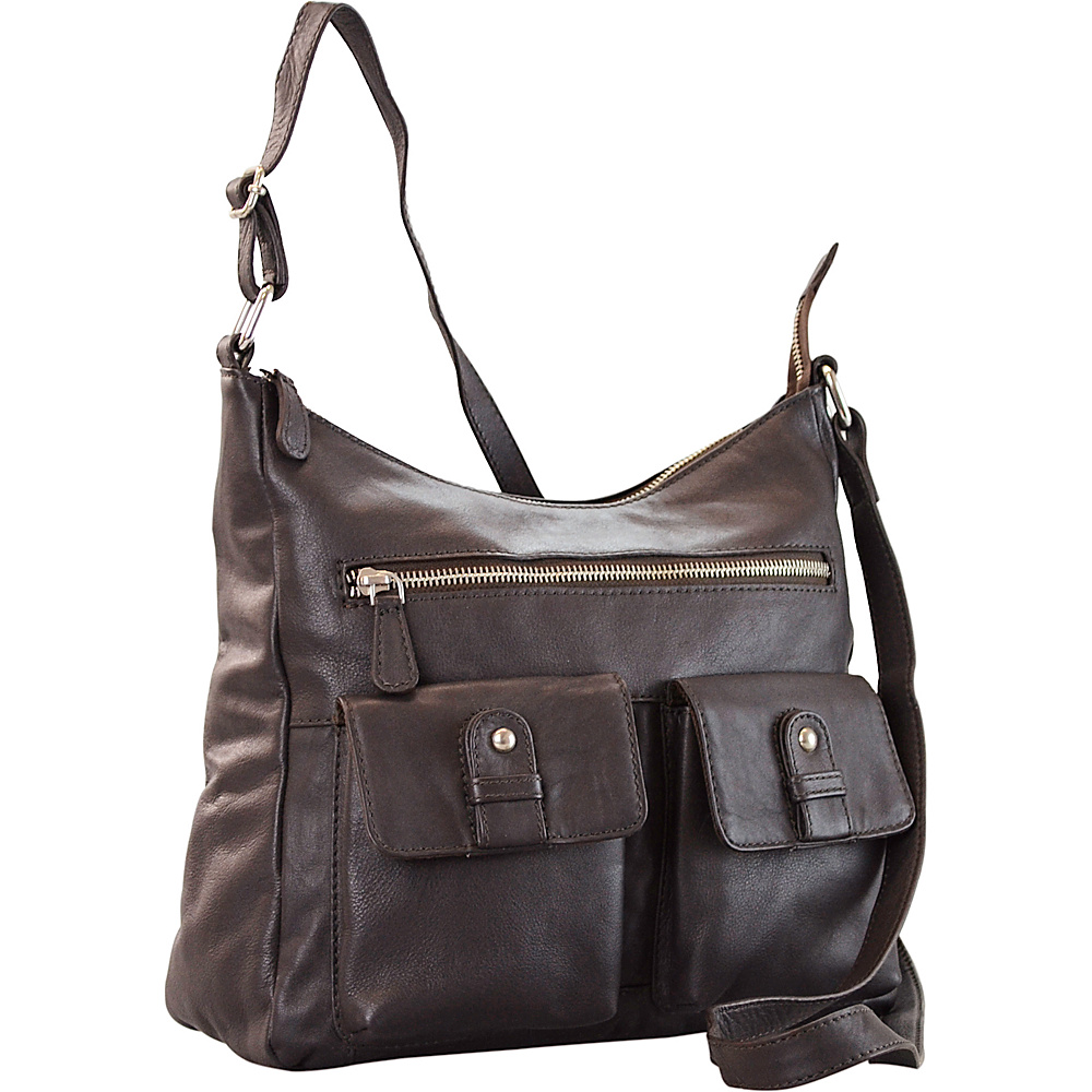 R R Collections Leather 2 Front Pockets Hobo Brown R R Collections Leather Handbags
