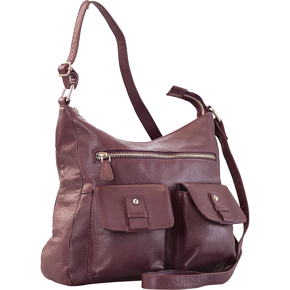 R R Collections Leather 2 Front Pockets Hobo Plum R R Collections Leather Handbags