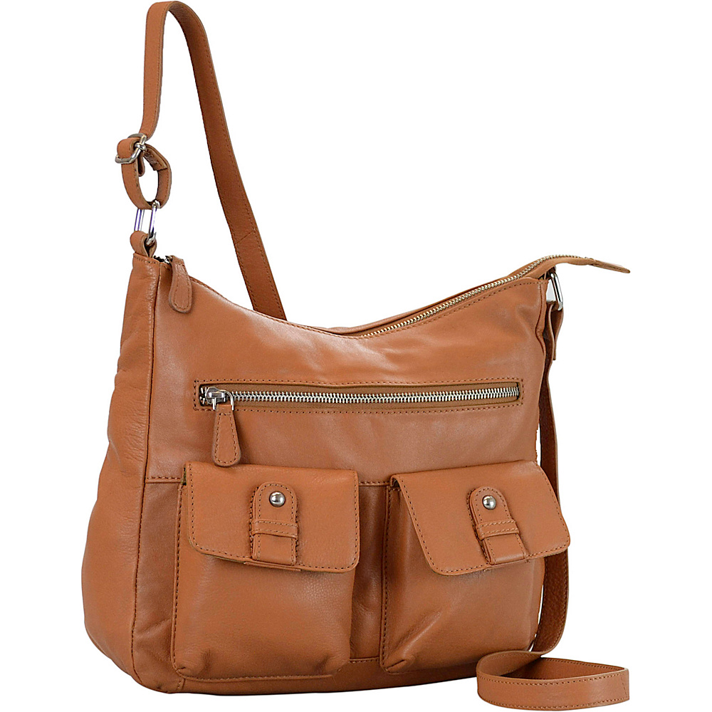 R R Collections Leather 2 Front Pockets Hobo TAN R R Collections Leather Handbags