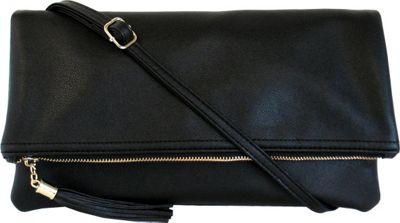 JNB Foldover Clutch with Tassel Black - JNB Manmade Handbags