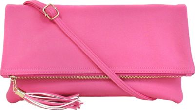 JNB Foldover Clutch with Tassel Pink - JNB Manmade Handbags
