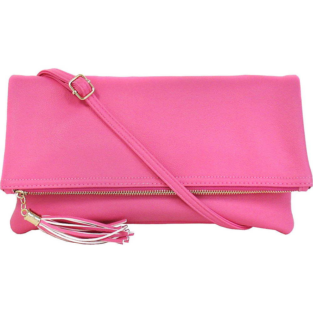 JNB Foldover Clutch with Tassel Pink JNB Manmade Handbags