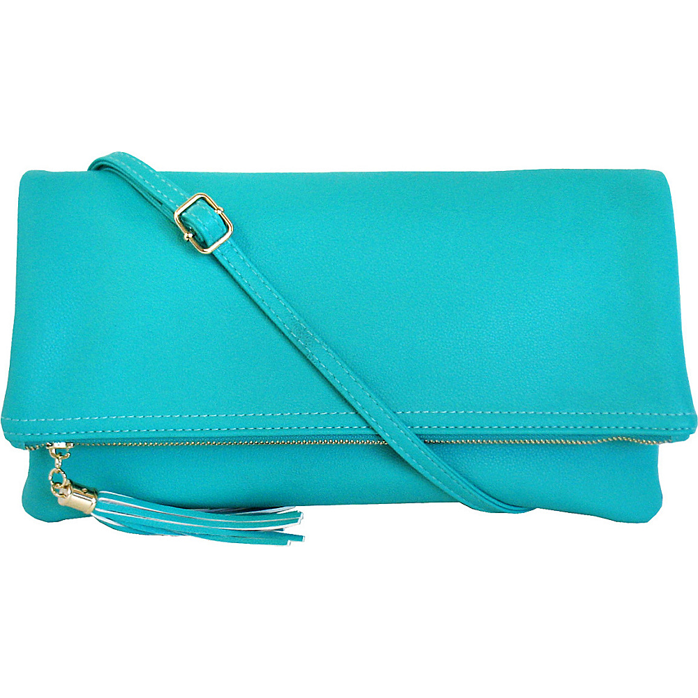 JNB Foldover Clutch with Tassel Turquoise JNB Manmade Handbags