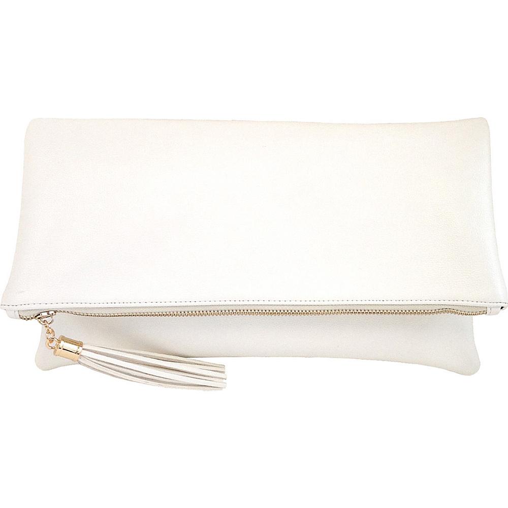 JNB Foldover Clutch with Tassel White JNB Manmade Handbags