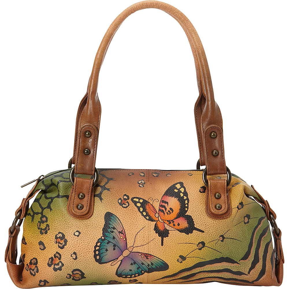 ANNA by Anuschka Hand Painted Top Zip Satchel Animal Butterfly ANNA by Anuschka Leather Handbags