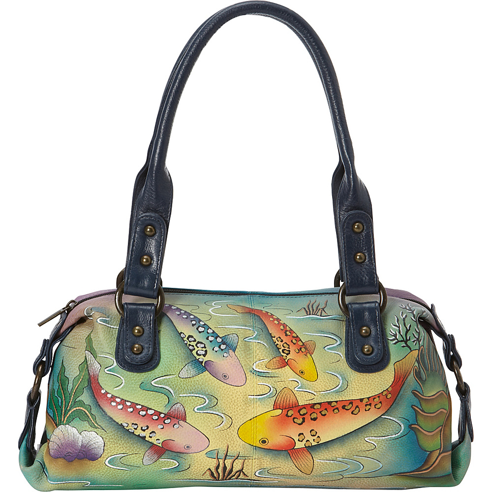 ANNA by Anuschka Hand Painted Top Zip Satchel Koi Fish ANNA by Anuschka Leather Handbags