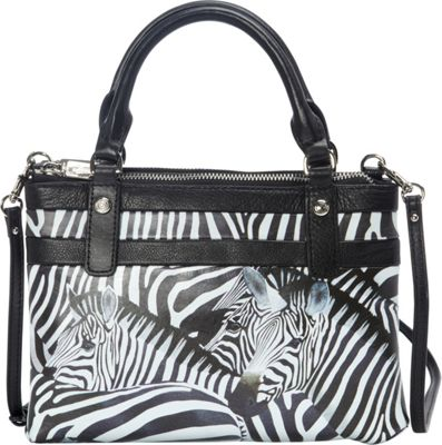 Icon Shoes Mini Crossbody Satchel Zebra Stripes - Icon Shoes Leather Handbags