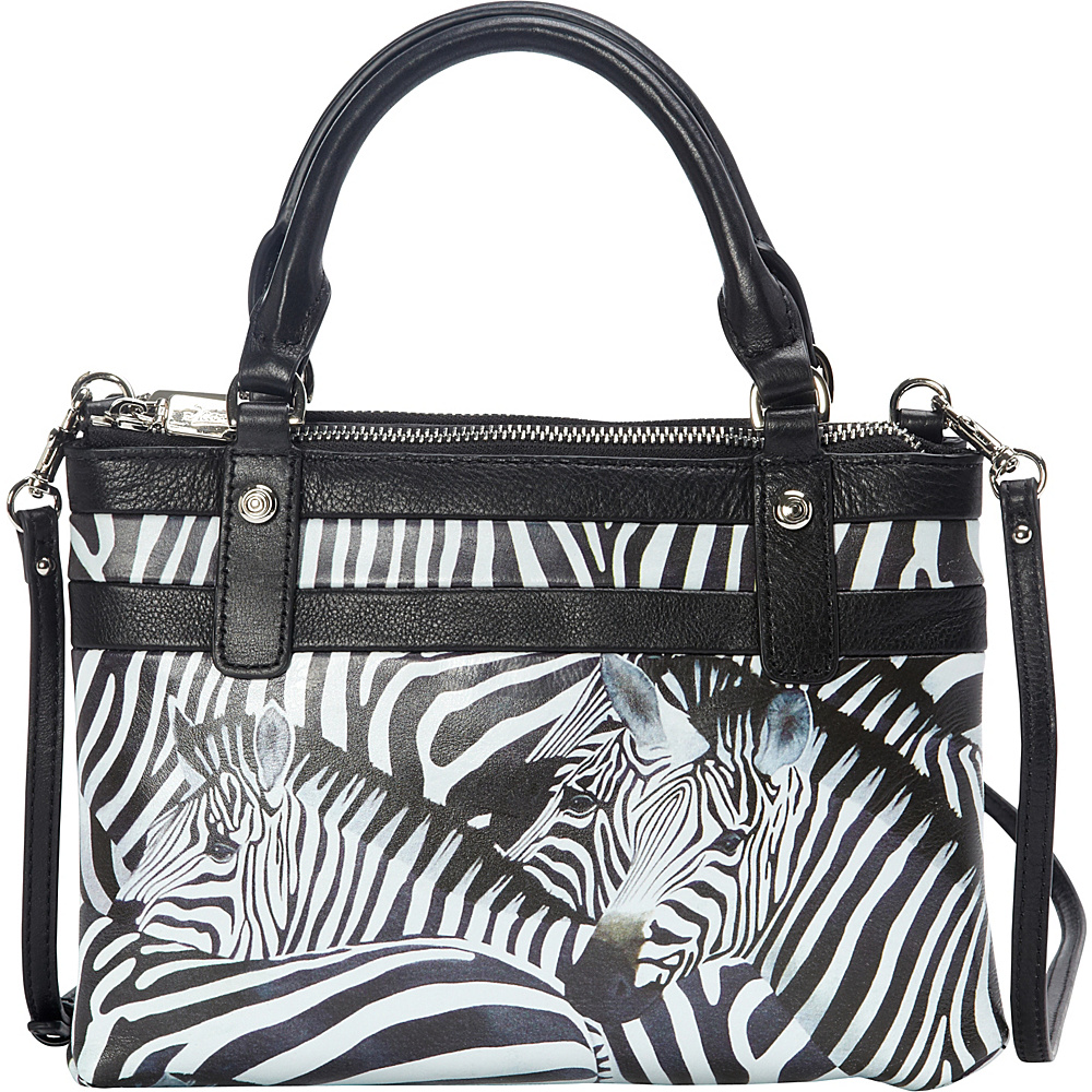 Icon Shoes Mini Crossbody Satchel Zebra Stripes Icon Shoes Leather Handbags