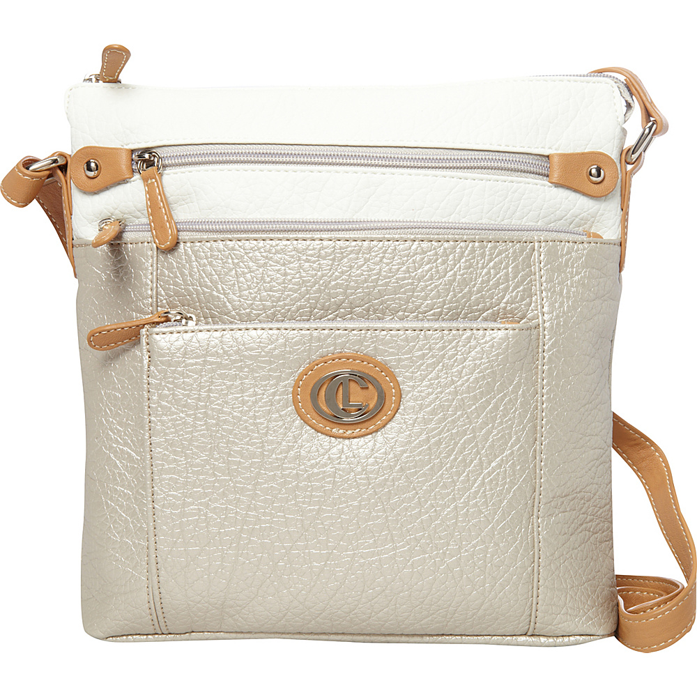 Aurielle Carryland Contempo Pebble Cross Body Pearly Shell Aurielle Carryland Manmade Handbags