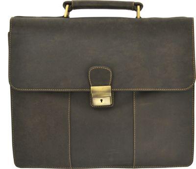 Visconti Apollo Oil Tanned Leather Briefcase With Strap and Lock Oil Brown - Visconti Non-Wheeled Business Cases
