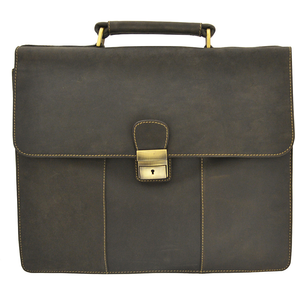 Visconti Apollo Oil Tanned Leather Briefcase With Strap and Lock Oil Brown Visconti Non Wheeled Business Cases