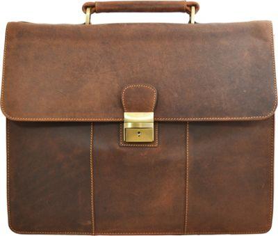 Visconti Apollo Oil Tanned Leather Briefcase With Strap and Lock Oil Tan - Visconti Non-Wheeled Business Cases