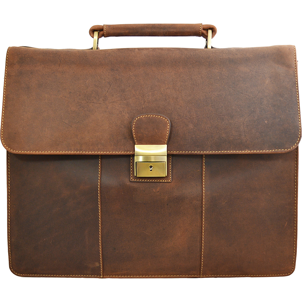 Visconti Apollo Oil Tanned Leather Briefcase With Strap and Lock Oil Tan Visconti Non Wheeled Business Cases