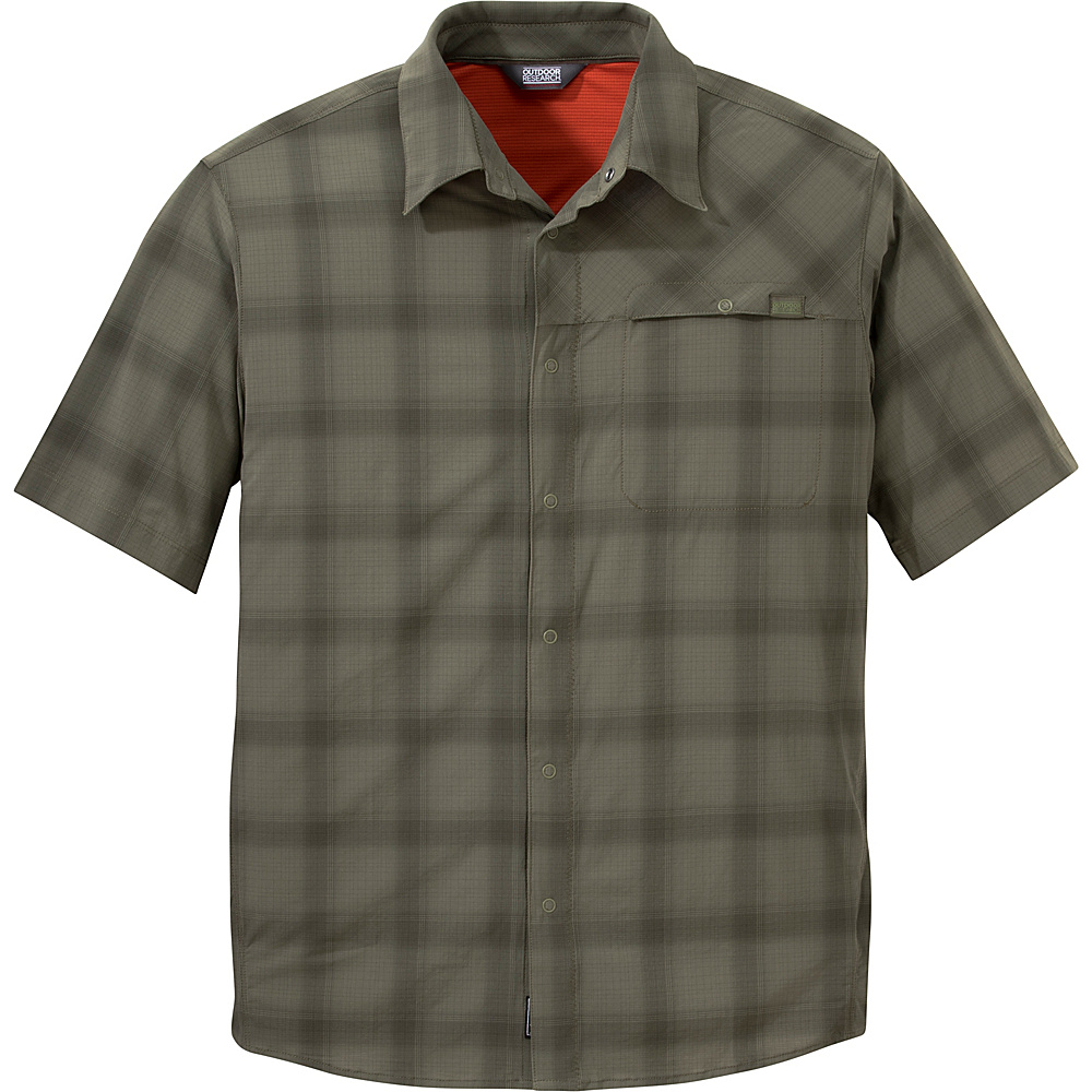 Outdoor Research Mens Astroman Short Sleeve Shirt L - Fatigue Plaid - Outdoor Research Mens Apparel - Apparel & Footwear, Men's Apparel