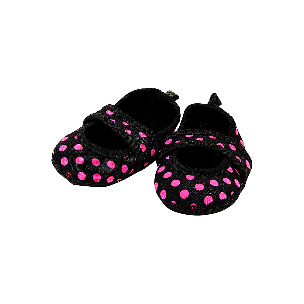 NuFoot Girls Betsy Lou Travel Slippers Black Pink Polka Dot 0 6 months NuFoot Women s Footwear
