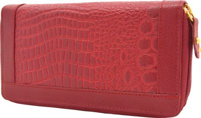 Great American Leatherworks Double Zip Around Clutch Poppy - Great American Leatherworks Women's Wallets