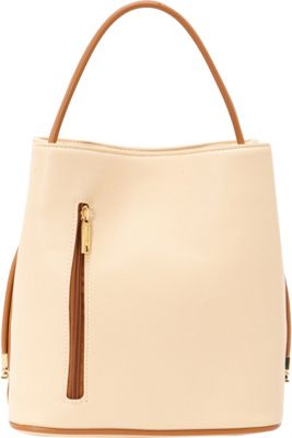 Samoe Classic Convertible Handbag Light Apricot/ Luggage Handle CL - Samoe Manmade Handbags