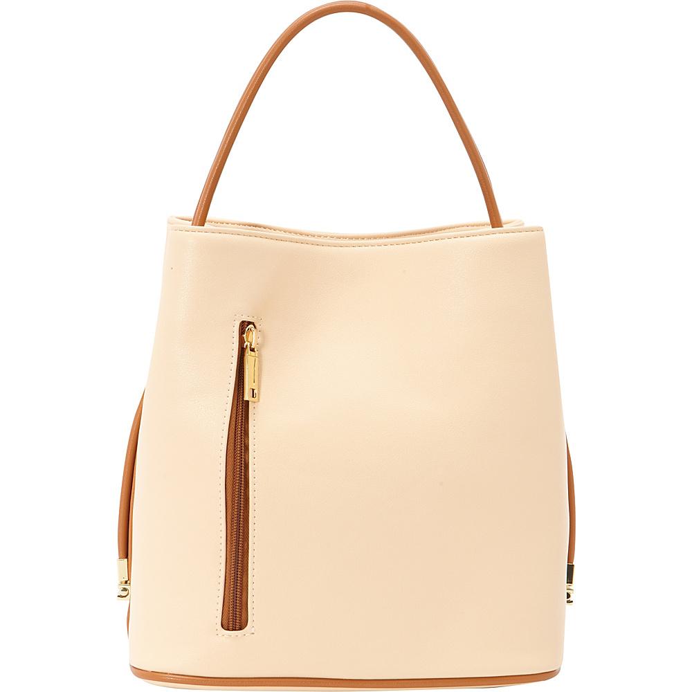 Samoe Classic Convertible Handbag Light Apricot Luggage Handle CL Samoe Manmade Handbags