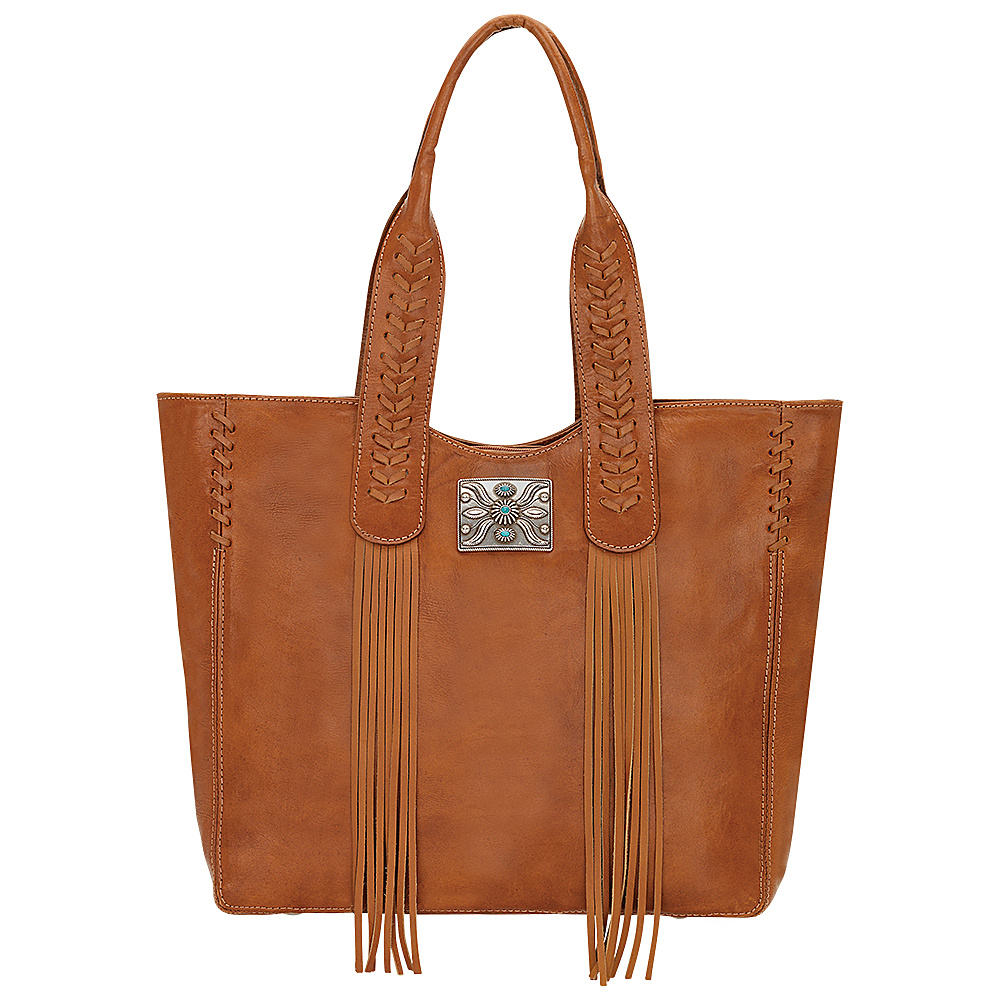 American West Mohave Canyon Large Zip Top Tote Golden Tan American West Leather Handbags