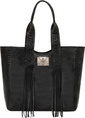 American West Mohave Canyon Large Zip Top Tote Black - American West Leather Handbags
