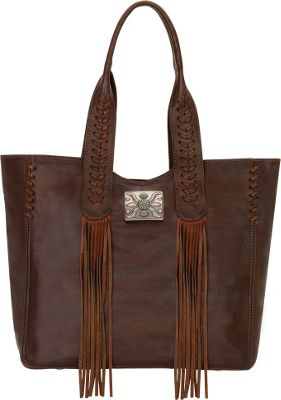 American West Mohave Canyon Large Zip Top Tote Chestnut Brown - American West Leather Handbags