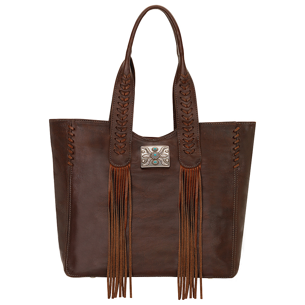 American West Mohave Canyon Large Zip Top Tote Chestnut Brown American West Leather Handbags