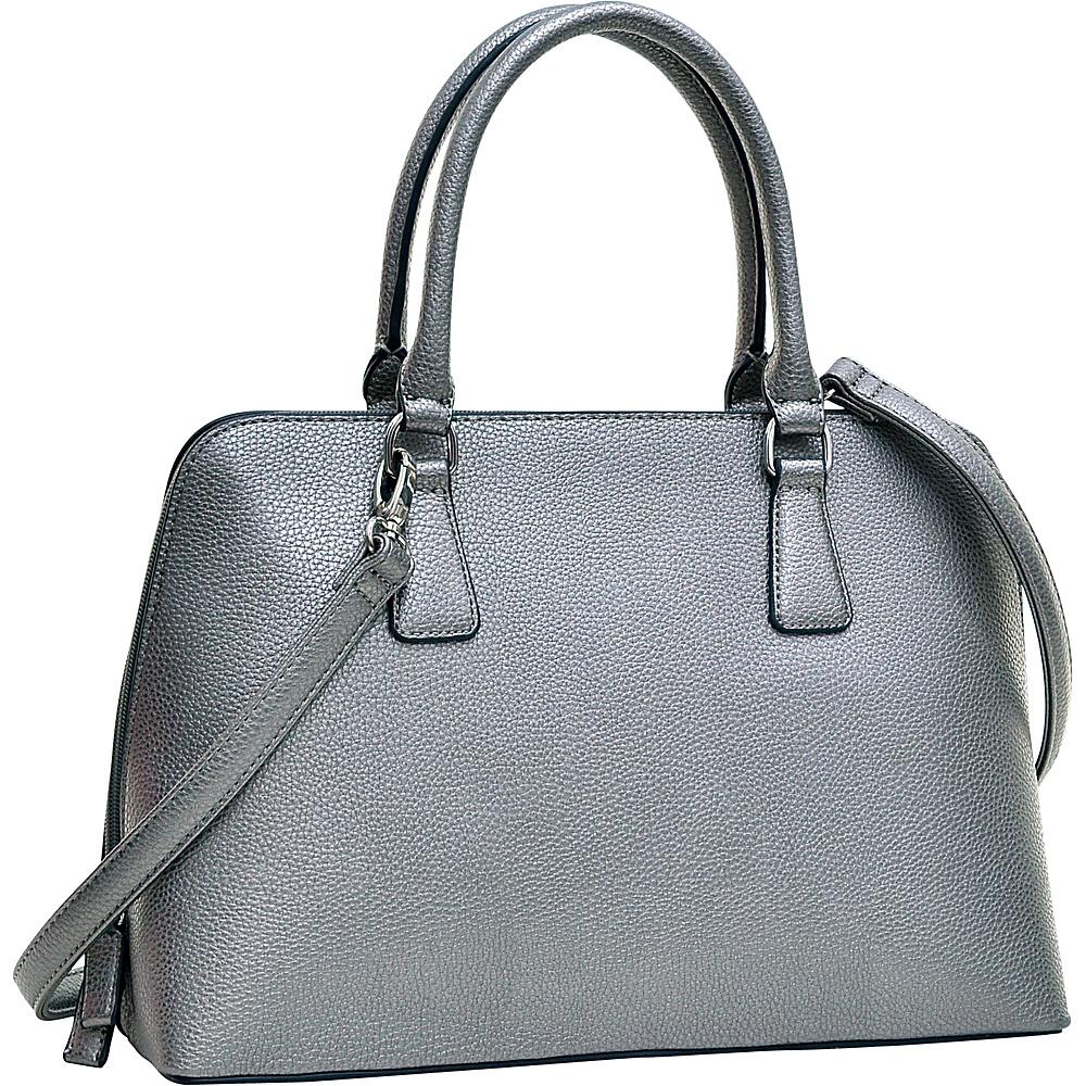 Dasein Buffalo Faux Leather Zip-Around Handbag Pewter - Dasein Manmade Handbags - Handbags, Manmade Handbags